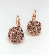 Rose Gold Sparkly Earrings Resin Druzy Lever Back Wedding Bridal Bridesmaid Gift