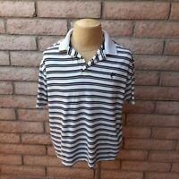 Ashworth Golf Shirt M Double Mercerized Cotton Dark Blue Brick Red Yellow Stripe