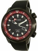 CITIZEN BJ7085-09E Eco-Drive GMT Black Dial Rubber Strap Diver 200m Men's Watch
