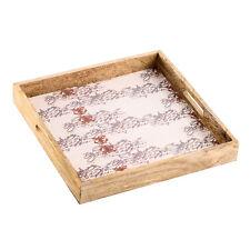 Tablett aus Holz mit Ornamentmotiv 28cm beige