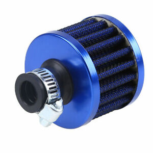 1x 12mm Car Cold Air Intake Filter Turbo Vent Crankcase Breather Filter SUV Blue