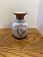 """Vintage Emerson Creek Pottery Bedford Virginia Pink flowers 5"""" Vase"""