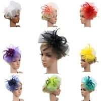 Women Fashion Wedding Mesh Hat Fascinator Penny Ribbons And Feathers Party New