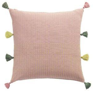 """Ikea Klarafina Handmade Pillow Cushion Cover 20"""" x 20"""" Pink/Green w/ Tassels New"""