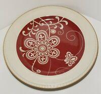 "Pier 1 Ironstone Maribeth Pattern Dinner Plate Cream Cranberry Burgundy Red 11"""