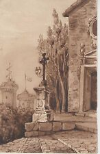 Dessin XIXe, Calvaire, Croix, Paysage, Lavis, Drawing 19th.