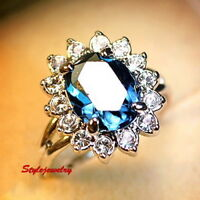 White Gold Plated Oval Blue Sapphire Women's Crystal Ring Size 6 SR150