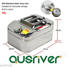 10L 304 Stainless Steel Jerry Can Fuel/Water Storage for Boat/4WD/Car/Motorbike