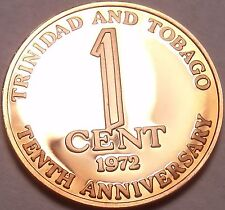 Rare Proof Trinidad & Tobago 1972 Cent~10th Anniversary of Independence~Free Shi