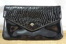 VINTAGE Alan Sutherland Finto Coccodrillo 1980s NERE IN VERNICE clutch bag
