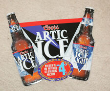 """Coors Artic Ice / Artic Ice Light Metal Embossed Beer Sign Good Condition 18x16"""""""