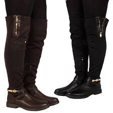 Patternless Cuban Heel Over Knee Boots for Women
