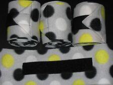 New set of 4 grey/lime/black/white polka dots polo wraps (horse/pony leg wraps)