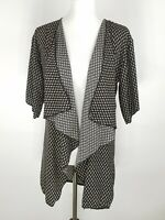 LuLaRoe Women's Small Shirley Print Geometric Kimono Cardigan Waterfall Black