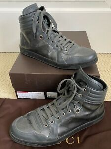 Gucci Coda Platinum GG Imprime Logo Dark Gray Leather High Top Sneakers 10 US 11