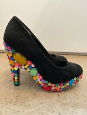 Rhinestone Black Suede Vintage Heels 6.5