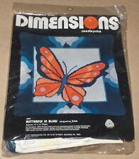 "1977 Dimensions / Jinice ""Butterfly in Blues"" Needlepoint Kit NIP 14x14"""