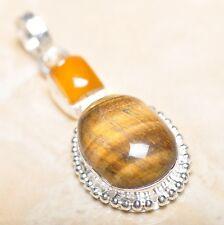 "Handmade Golden Tiger's Eye Gemstone 925 Sterling Silver Pendant 2"" #P15068"