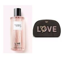 Victoria's Secret LOVE Fragrance Body Mist + VS Runway Patch Beauty/ Makeup Bag