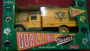 GREEN BAY PACKERS DIE CAST METAL COIN BANK NFL TRUCK  IN BOX 1993 ERTL