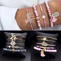 5PCS Women Animal Horse Tree Tassels Round Bead Bracelet Bangle Chain Jewelry