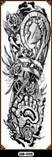 Temporary Tattoo Sleeve Full Arm Robotic Arm Roses Removable Body Art QB-009