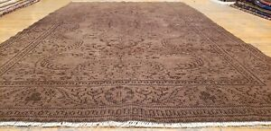 "Bohemian Vintage 1950-1960s Wool Pile Chocolate Brown Oushak Rug 5'9""×9'7"""