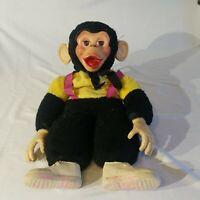 Vtg Zippy Monkey Plush Stuffed Doll Rubber Face Yellow Black Mr Bim Zip