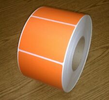 """Thermal Transfer 4"""" x 3"""" Paper roll labels,perf,1700/roll,3"""" core,Orange-4 rolls"""