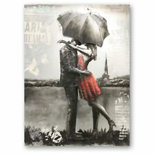 NIGHT IN PARIS Hand Craft Metal Wall Art COUPLE IN RAIN Paninting Art on Metal