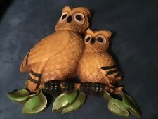 Vtg Mid Century Modern Home Interior Homco Owls 7403 Wall Hanging Decor Plaques