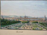 Vintage Print,VIENNA,AUSTRIA,Hand Painted,1850