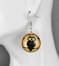 Halloween earrings owl hoot bird branch dangle earrings jewelry autumn fall