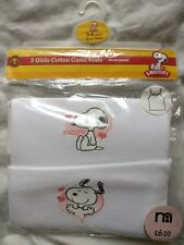 **2 X MOTHERCARE SNOOPY PEANUTS GIRLS CAMISOLE CAMI VEST TOP COTTON 3-4