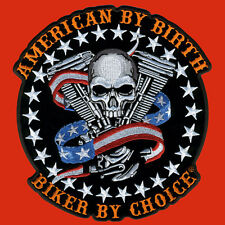 Skull Motor EMROIDERED IRON ON MC 9 INCH BIKER PATCH