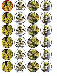 24 X PRE CUT SHREK BIRTHDAY WAFER/RICE PAPER CAKE TOPPERS