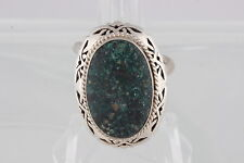 STERLING HECHO EN MEXICO TAXCO SALINAS GREEN STONE RING SIZE 9 1/2 ADJUSTS 0666B
