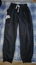 Boys Black joggers lounge tracksuit cuffed bottoms age 10-11 years