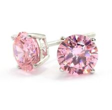 2 Ct Round Cut Lab Pink Diamond Earrings Solid 14k White Gold Screw Back Studs