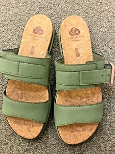 CLARKS ~ CLOUDSTEPPERS  Green Elasticated SANDALS ~ Size 5 NEW
