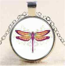 Beautiful Dragonfly Cabochon Photo Glass Tibet Silver Chain Pendant Necklace#A26