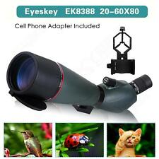 20-60x80 Spotting Angled Scope w/Phone Adaptor Outdoor Telescope Monocular Bak4