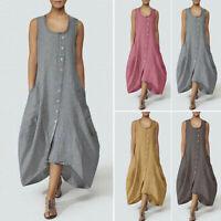 ZANZEA Women Sleeveless Sundress Casual Asymmetrical Long Shirt Dress Tank Dress