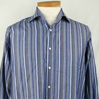 Tailorbyrd Blue Striped Long Sleeve Button Up Dress Shirt Mens Size L