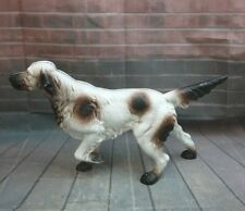 "Vintage 15"" Cast Iron Doorstop English Setter Spaniel Dog Figurine"