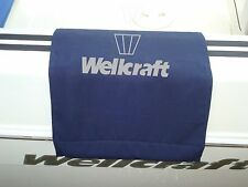 "Wellcraft embroidered Boat Gunwale Boarding mat 20""x 36"" Navy Fabric Gray Logo"