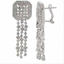 925 Silver CZ Three Strand Dangle Earrings