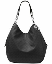 Milchael Michael Kors Fulton Black Silver MK Logo Large Shoulder Bag