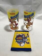 Lot of 2 Nestle Nesquik Birthday Cereal Cups + RARE Promo Nestle Nesquik Wallet