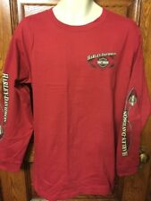 NOS! Genuine HARLEY-DAVIDSON Cardinal Red Long Sleeve Logo T-SHIRT, Mens L, NWT